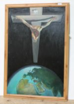 Geoffrey Nelson, 20th century school, oil on board after Salvador Dali 'Christ of St John of the