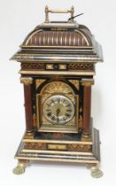 A Junghans polyphon mantle clock, Chinoiserie decorated case, raised on four claw feet, height 56cm.