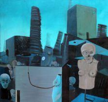 20th century school, Polish 20th century, surrealist cityscape with figures, oil on canvas,