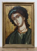 Geoffrey Nelson, 20th century school, religious icon, oil on board, signed with GN monogram to lower
