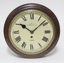 """A London Midland and Scottish fusee wall clock, 10"""" dial signed R Jones & Co, London, total diam."""