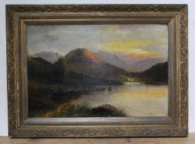 C J Miller, 19th century, , landscape scene with cattle, oil on canvas, 74cm x 49.5cm, gilt frame.
