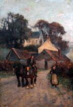 Thomas Laing (Scottish, fl. 1890-1904), village scene, oil on canvas, 41cm x 61cm, signed lower