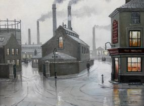 Steven Scholes (born 1952), 'Salford Gasworks 1962', oil on canvas, 20cm x 30cm, signed to lower