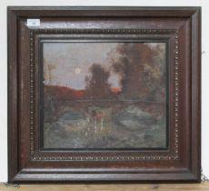 Arthur G Quigley, impressionist style scene with bridge, oil on board, 37.5cm x 32cm, oak frame.