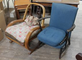 A 1930s bentwood lounge chair and an Ercol armchair.