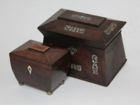 A George III mahogany tea caddy with ball feet and a mother of pearl inlaid rosewood tea caddy.