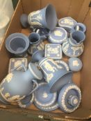 Box containing blue and white Wedgwood Jasperware