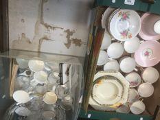 Two boxes containing part tea sets, Burleigh ware Art Deco bowls, Coronation ware etc