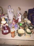 A group of figurines including 3 Coalport, 4 Royal Doulton, 1 Royal Worcester and a Hummel (AF).