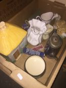 A box of mixed ceramics and epns - includes Celtic pottery, cottage shaped biscuit jar etc