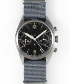 A GENTLEMAN'S STAINLESS STEEL BRITISH MILITARY CWC RAF PILOTS CHRONOGRAPH WRIST WATCH DATED 1974,