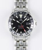 A GENTLEMAN'S STAINLESS STEEL OMEGA SEAMASTER GMT CHRONOMETER BRACELET WATCH DATED 2003, REF. 2234.