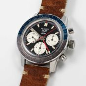 A GENTLEMAN'S STAINLESS STEEL HEUER AUTAVIA COMPRESSOR GMT CHRONOGRAPH WRIST WATCH CIRCA 1970,