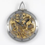 A FINE & RARE GENTLEMAN'S SIZE 18K SOLID WHITE GOLD AUDEMARS PIGUET SKELETONISED POCKET WATCH