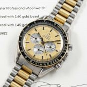 A RARE GENTLEMAN'S STEEL & GOLD OMEGA SPEEDMASTER PROFESSIONAL CHRONOGRAPH BRACELET WATCH DATED