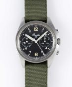 A RARE GENTLEMAN'S STAINLESS STEEL BRITISH MILITARY PRECISTA RAF PILOTS CHRONOGRAPH WRIST WATCH