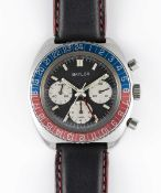 A GENTLEMAN'S STAINLESS STEEL BAYLOR GMT CHRONOGRAPH WRIST WATCH CIRCA 1970 Movement: 17J, manual