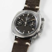 A GENTLEMAN'S STAINLESS STEEL HEUER CAMARO CHRONOGRAPH WRIST WATCH CIRCA 1970, REF. 73343N WITH