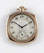 "A RARE GENTLEMAN'S 9K SOLID GOLD ROLEX OYSTER ""CUSHION"" POCKET WATCH CIRCA 1920s, WITH BREGUET"
