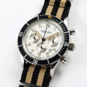 A RARE GENTLEMAN'S STAINLESS STEEL EXCELSIOR PARK MONTE CARLO CHRONOGRAPH WRIST WATCH CIRCA 1980s,