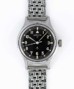 A GENTLEMAN'S STAINLESS STEEL BRITISH MILITARY HAMILTON RAF PILOTS WRIST WATCH CIRCA 1960s Movement: