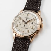 A RARE GENTLEMAN'S LARGE SIZE 18K SOLID ROSE GOLD UNIVERSAL GENEVE MEDICO COMPAX CHRONOGRAPH WRIST