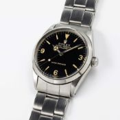 A RARE GENTLEMAN'S STAINLESS STEEL ROLEX OYSTER PERPETUAL EXPLORER SUPER PRECISION BRACELET WATCH