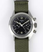 "A RARE GENTLEMAN'S STAINLESS STEEL UNISSUED BRITISH MILITARY ROYAL NAVY LEMANIA ""DOUBLE BUTTON"""