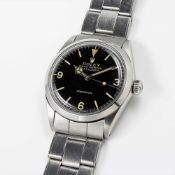 A RARE GENTLEMAN'S STAINLESS STEEL ROLEX OYSTER PERPETUAL EXPLORER PRECISION BRACELET WATCH CIRCA