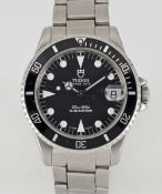 A MID SIZE STAINLESS STEEL ROLEX TUDOR PRINCE DATE SUBMARINER BRACELET WATCH CIRCA 1995, REF.