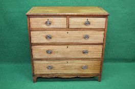 19th century mahogany cross banded chest having two short and three long graduated drawers with