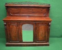 Victorian mahogany chiffonier the top having raised back with shelf and 3/4 raised pierced fretwork