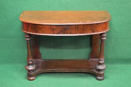 Victorian mahogany D shaped side table the top having chamfered edge over single small drawer,