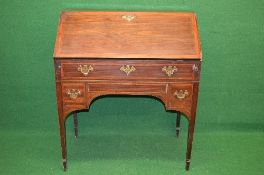 19th century mahogany cross banded bureau having fall front opening to reveal fitted interior of