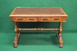 19th century inlaid satinwood stretcher table the top having leatherette insert and moulded edge