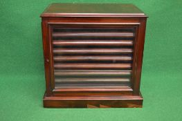 Victorian mahogany table top collectors cabinet having glazed door and back panel,