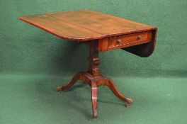 19th century mahogany Pembroke table the top having two D shaped drop leaves over single drawer