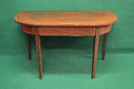 19th century mahogany and cross banded D shaped side table the top over a cross banded frieze,