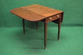 19th century mahogany cross banded Pembroke table the top having bow shaped drop leaves over single