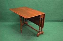 Victorian mahogany Sutherland table the top having two drop leaves with rounded corners,
