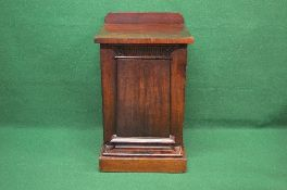 19th century mahogany pedestal side cabinet the top having raised back over panelled door opening