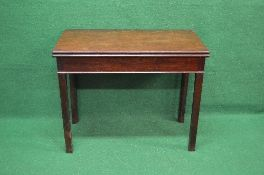 Georgian mahogany fold over tea table having square top opening to reveal polished surface,