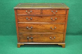 19th century mahogany chest of drawers the top opening in three sections to reveal storage space