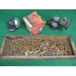 Large quantity of bike frame front and rear wheel axle brackets, boxed Miller No. 6A6 battery, dip