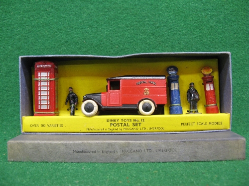 Pre-War Meccano Dinky boxed No. 12 Postal Set containing: GPO, Air Mail and Telephone boxes, Royal