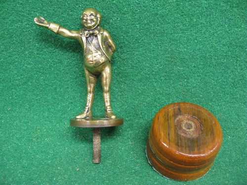 """Brass mascot of Mr Pickwick - 4.5"""" tall with detachable wooden display base Please note descriptions"""