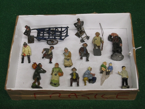 Quantity of early cast metal figures to include: milking maid, cartsman, porter, barrow man, tramp