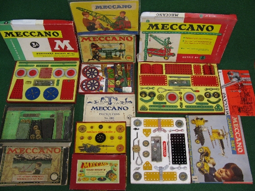 Six old Meccano sets to comprise: French OOO Outfits 1,3,3A, Gears Outfit B and an early 1900 set (