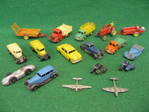 Quantity of eighteen early playworn Dinky vehicles to include: Dodge, Bedford and yellow 25E